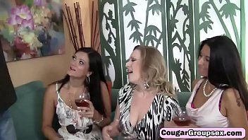Lucky fat cocked stud banging three hot cougars with big tits
