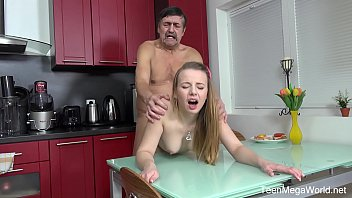 Old-n-Young.com - Angel - Older man cums on fresh tits for dessert