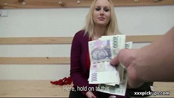Public Blowjob For Money from Sexy Czech Slut Teen Girl 05