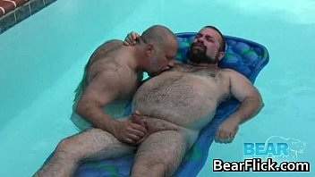 Hairy big boys jerking rods by the pool gay video