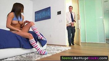 ultra-cute teenager leah gotti pummeled by monstrous rod.