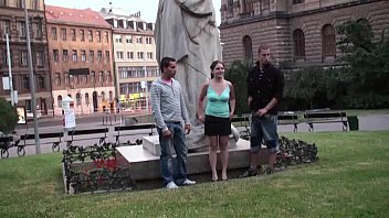 Group of teens PUBLIC street sex by a famous statue PART 1