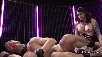 Busty tranny dom anal fucks male slave
