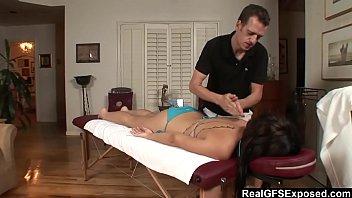 RealGfs &ndash_ Hot brunette gets wet from oil massage