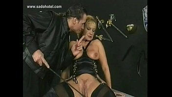 Horny slave spanked on her cunt and gets her tight pussy finger fucked by master