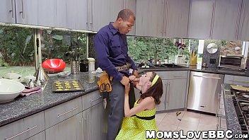 MILF housewife with big jugs fucks with hung black guys