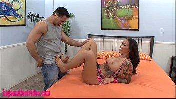 Legsandfeetvideos.com Big real tits dirty tattoo giving good fucked cum on feet