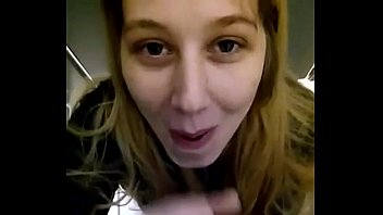 Blonde girl sucking black dick at work in the bathroom on break