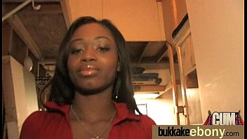 Ebony gets group cumshots 20