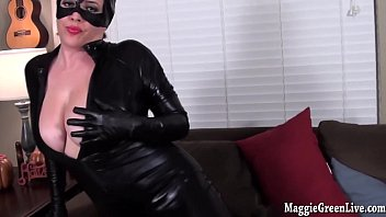 buxomy catwoman maggie green plays with.