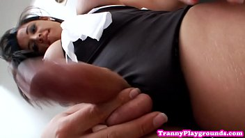 Bigtitted tranny amateur jerking cock