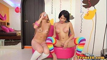 Latina tranny jerking her dick before scene