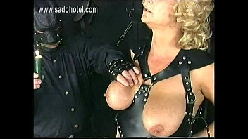Old milf slave got her ass burnt with a candle and hot candlewax of her large hangin tits and nipple