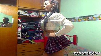 Big tits &amp_ ass Latin schoolgirl striptease out of her uniform