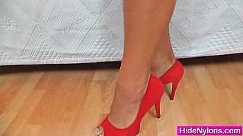Leggy brunette hose and high heels
