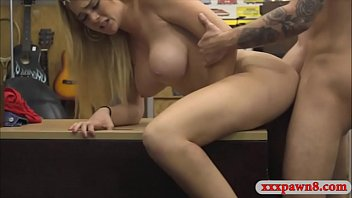 Huge boobs amateur blonde babe railed at the pawnshop