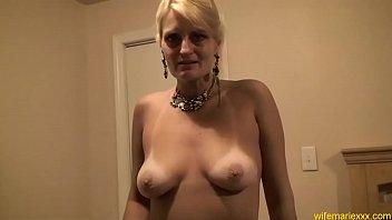 busty mature blonde mom blowjob