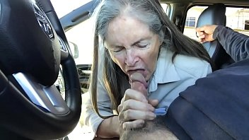 granny blowjob in car - cum