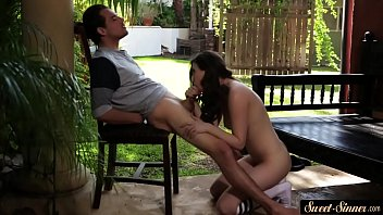 Gorgeous teen fucked outdoors by her stepbro