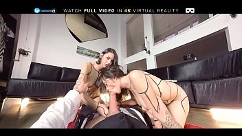 Euro lesbian sluts get fucked In threesome by POV on BaDoink VR