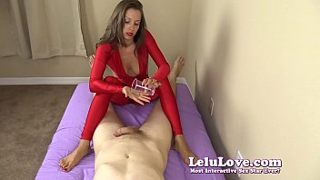 clothed dame gives you hand job and feet.