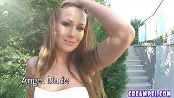 Pussy creampie fun for stunning babe Angel Blade